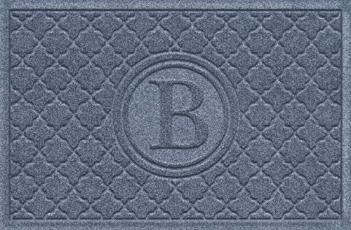 Bungalow Flooring Monogrammed Waterhog Doormat, 2 x 3 , Made in USA, Customizable Decorative Floor Covering, Skid Resistant, Indoor Outdoor, Water-Trapping, Cordova Bombay Collection, Bluestone