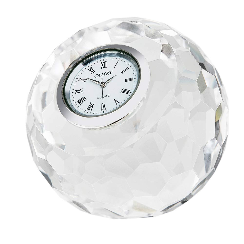 DONOUCLS Crystal Classic Lismore Diamond Table Clock 3.1