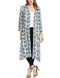 Meaneor Women Boho Floral Sheer Chiffon Kimono Cardigan Long Loose Cover Ups
