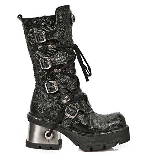 New Rock Laarzen M.373-qs3 Gothic Hardrock Punk Damen Stiefel Schwarz