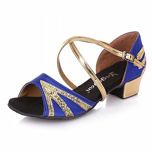 BYLE Sandalias de Cuero Tobillo Modern Jazz Samba de Verano los Zapatos de Baile Zapatos de Baile Zapatos de Baile Latino Suave Transpirable Inferior Zapato de Baile Oro Azul Onecolor