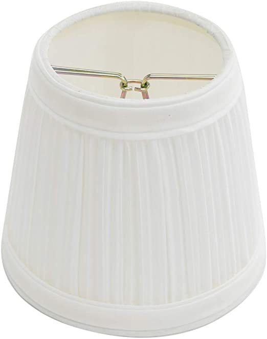 Renovator S Supply Small Clip On Lamp Shade White Fabric Clip On Traditional Style For Chandelier Candelabra Lights 4 H 4 1 2 Base W 3 Top W