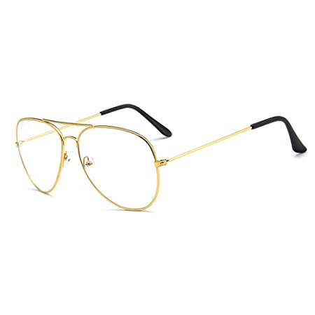 c2dcd45320c Skitic Unisex Retro Pilot Aviator Eyeglasses Fashion Glasses Plain Reading Glasses  Clear Lens Spectacle Metal Frame
