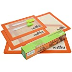 Rozotti Silicone Baking Mat Bundle (6-Piece Set) 2 Half Sheets Silicone Baking Mat and 2 Quarter Sheets Silicone Baking Mat, Silicone Baking Brush, Silicone Baking Spatula | Non-Stick, Heat-Resistant 10 SILICONE BAKING MAT Bundle - Complete Cooking & Baking Set. This multipurpose cookware bundle comes with two half and two quarter-sized silicone cooking sheets, a silicone cleaning brush, and a silicone spatula; everything you need to prep, cook, serve, and enjoy! SILICONE BAKING MAT - Smarter, Healthier Cooking. Silicone is not only more flexible, durable, and longer-lasting, it's non-stick, which means you can cook without adding fat, butter or oils. This ensures healthier, more delicious meals great for the whole family. Food-Grade Safe Silicone - Each silicone baking sheet and utensil is non-stick, ecofriendly, BPA free and completely reusable. The mats are also FDA and LFGB certified to ensure high-quality support you can trust with every meal.