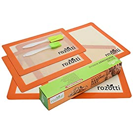 Rozotti Silicone Baking Mat Bundle (6-Piece Set) 2 Half Sheets Silicone Baking Mat and 2 Quarter Sheets Silicone Baking Mat, Silicone Baking Brush, Silicone Baking Spatula | Non-Stick, Heat-Resistant 1 SILICONE BAKING MAT Bundle – Complete Cooking & Baking Set. This multipurpose cookware bundle comes with two half and two quarter-sized silicone cooking sheets, a silicone cleaning brush, and a silicone spatula; everything you need to prep, cook, serve, and enjoy! SILICONE BAKING MAT – Smarter, Healthier Cooking. Silicone is not only more flexible, durable, and longer-lasting, it's non-stick, which means you can cook without adding fat, butter or oils. This ensures healthier, more delicious meals great for the whole family. Food-Grade Safe Silicone – Each silicone baking sheet and utensil is non-stick, ecofriendly, BPA free and completely reusable. The mats are also FDA and LFGB certified to ensure high-quality support you can trust with every meal.
