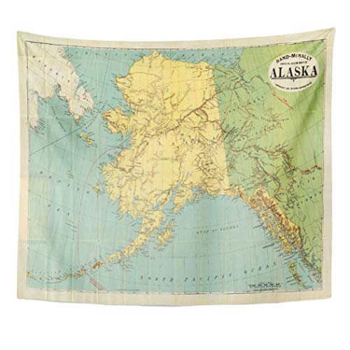 Semtomn Tapestry Artwork Wall Hanging Gold Rand Map of Alaska Rushalaska Fairly Early Rush 60x80 Inches Home Decor Tapestries Mattress Tablecloth Curtain Print