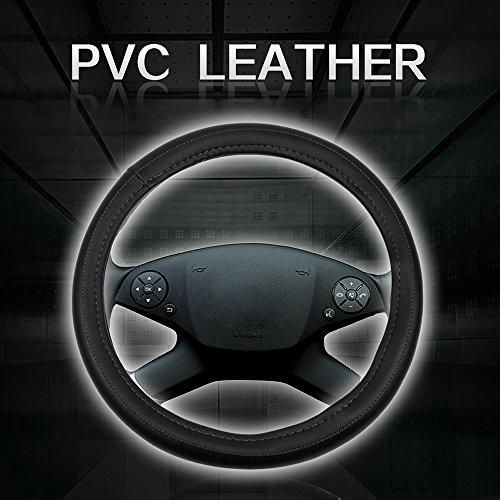 cciyu Steering Wheel Cover Universal 15 Inch PVC Semi-PU Leather Black with Grey Line Car Steering Wheel Cover