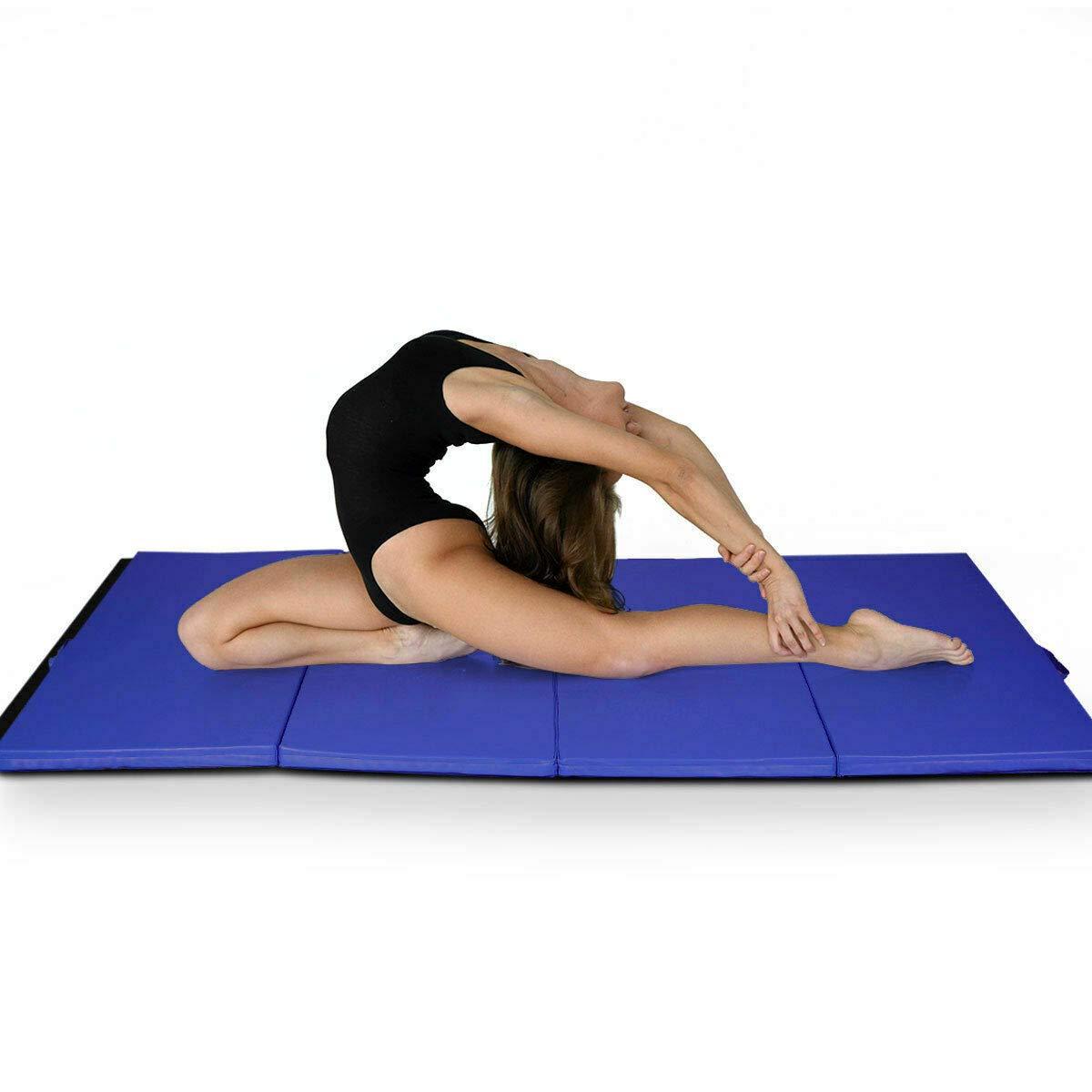 体操マット 厚手 折りたたみパネル ジム フィットネス エクササイズマット ブルー   B07Q37KHKV