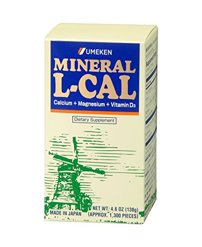 Umeken Mineral L Cal (Small Bottle)- Calcium Enriched with Magnesium, Vitamin D3 and Minerals. Water Soluble and Fast Absorbing. About a 3 month supply. Made in Japan.