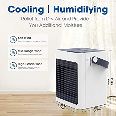 DOUHE Air Cooler, Mini Portable Air Conditioner Fan Noiseless Evaporative Air Humidifier for Room Office Desktop Nightstand