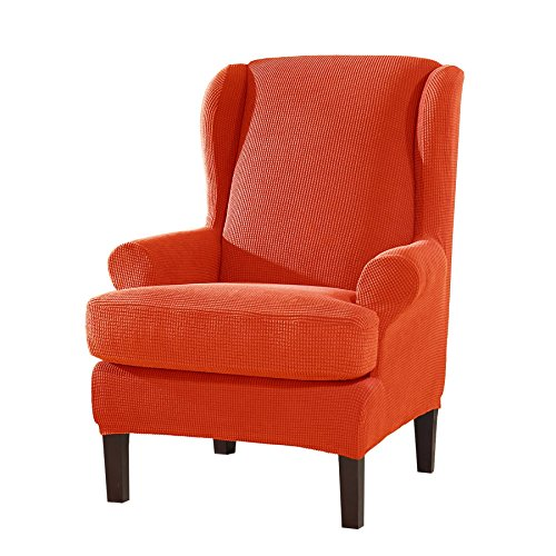Subrtex 2-Pieces Spandex Elastic Arm Wingback Cover Waffle Fabric Back Furniture Protector Stretch Sofa Slipcovers for Living Room(Wing Chair,Orange)