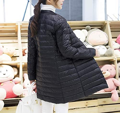 Woman Spring Padded Warm Coat Ultra Light Jacket Long Female Overcoat Slim Solid Jackets Winter Coat Portable Parkas L Black