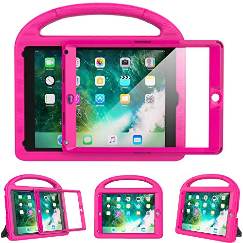 eTopxizu Kids Case for New iPad 9.7 2018 and 2017 with Built-in Screen Protector, Light Weight Shock Proof Handle Stand Kids Case for iPad 9.7 2017 and 2018,iPad Air,iPad Air 2, Rose Pink