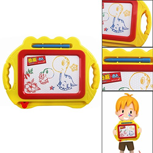 Gloss Pouch Foam Boards (FINERINE Educational Kids Doodle Toy Erasable Magnetic Drawing Board + Pen Gift New (Yellow))