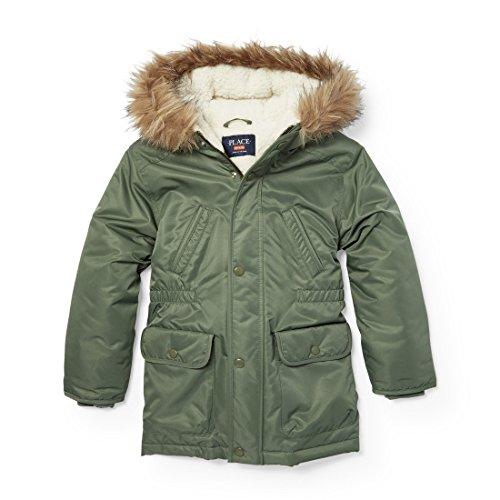 The Children's Place Big Girls Faux Fur Lined Parka Jacket 2, Green Agate, (Boys Parka)