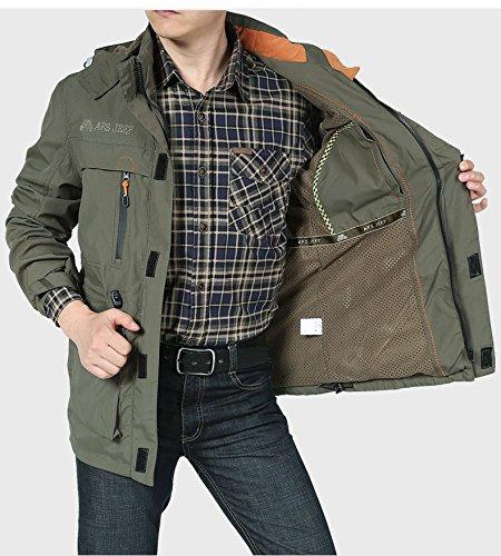 de Casual 086 del Hombres Hombres XXL de chaqueta Verdes Ejército Chaqueta casual coat chaqueta transpirable monocapa xqPtatIwp