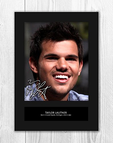 Engravia Digital Taylor Lautner 1 MT - Signed Autograph Reproduction Photo A4 Print (Card Mounted)