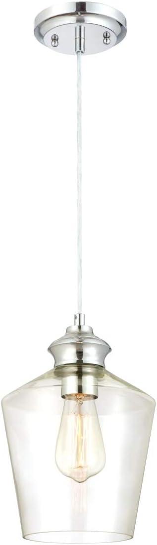 Oferta amazon: Westinghouse Lighting Lámpara de Techo Colgante de 1 Luz con Vidrio E27, Cromo           [Clase de eficiencia energética A++]