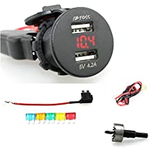 IZTOSS 2.1A & 2.1A Waterproof Car Motorcycle Boat Marine ATV RV Dual USB Charger Phone Charger Power Supply Socket with Voltmeter Red Light and 60cm cords Fuse holder 5pcs fuse and Twist Drilling