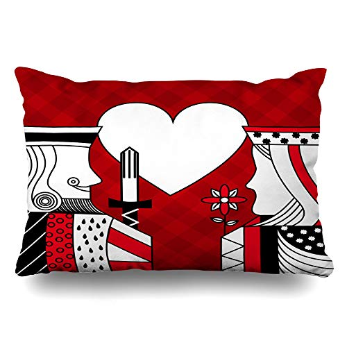 DIYCow Throw Pillows Covers Chessboard Casino Poker Queen King Heart Gothic Cushion Case Pillowcase Home Sofa Couch Standard Size 20 x 26 Inches Pillowslips