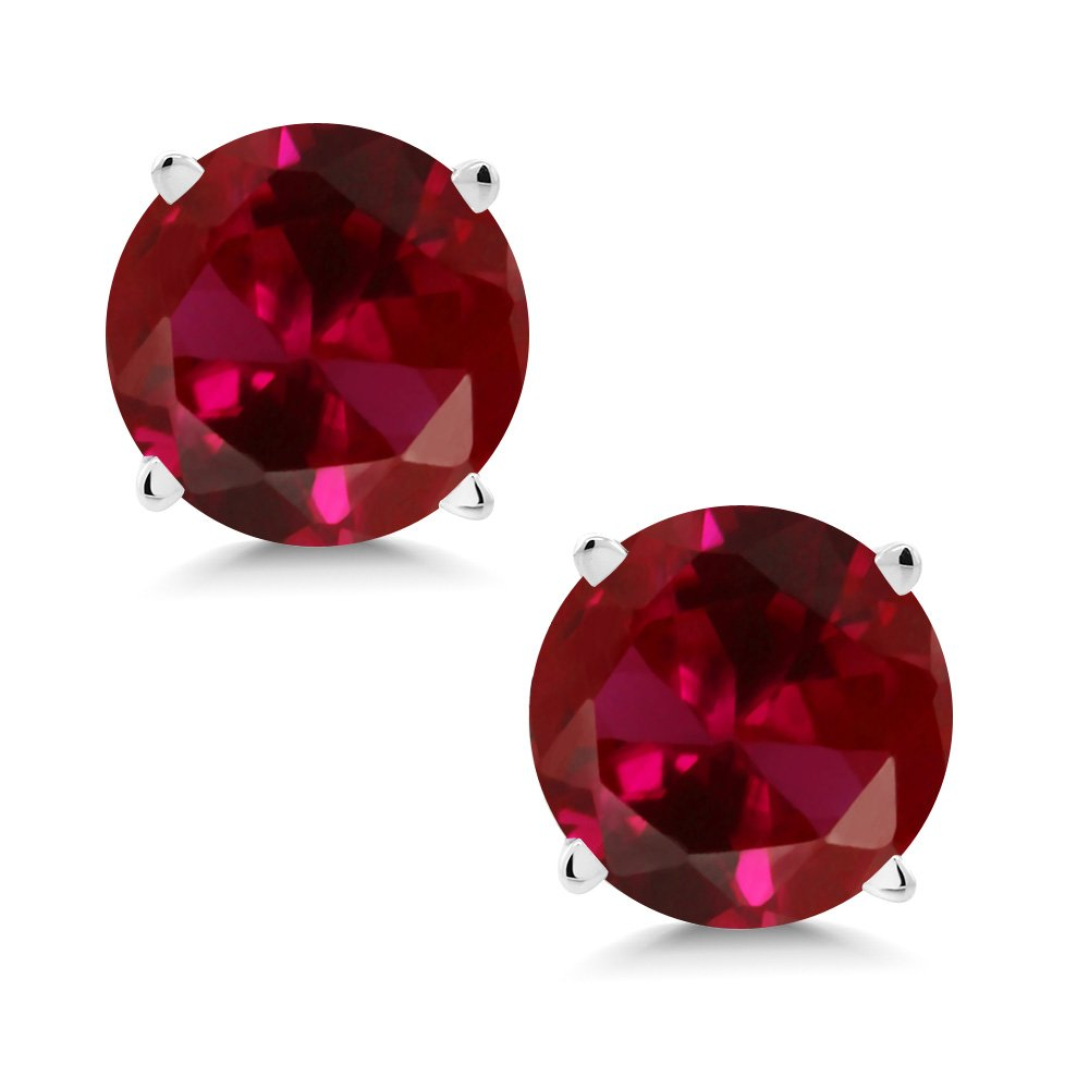 Gem Stone King 14K White Gold Red Created Ruby Stud Earrings 2.00 Ct Round 6MM by Gem Stone King