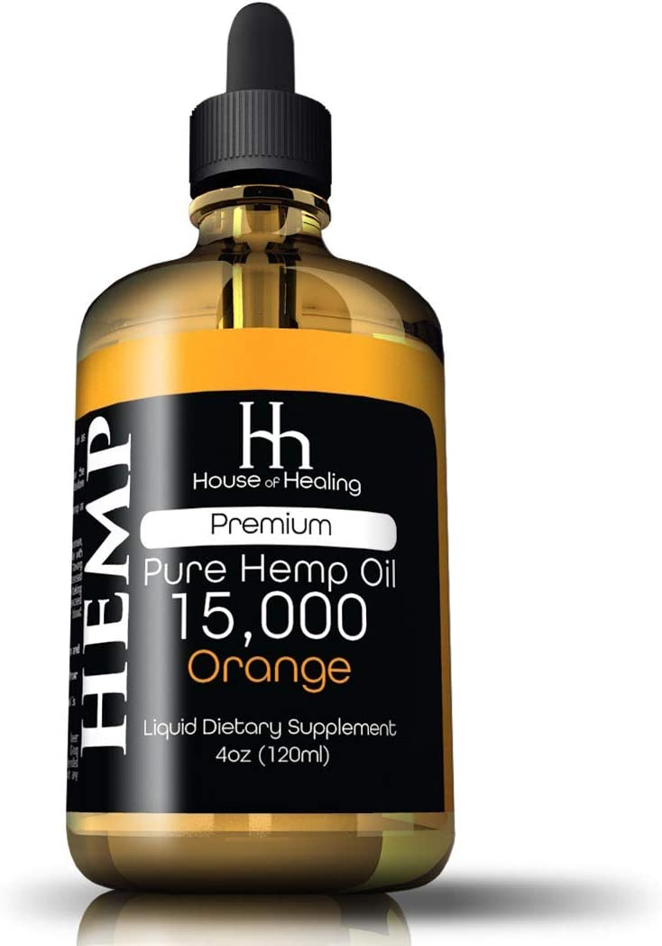 Hemp Oil for Pain Anxiety Relief :: Hemp 15,000mg :: Hemp Extract :: May Help with Inflammation, Joints, Mood, Sleep & More :: Hemp Drops :: Rich in Omega 3,6,9 (Orange)