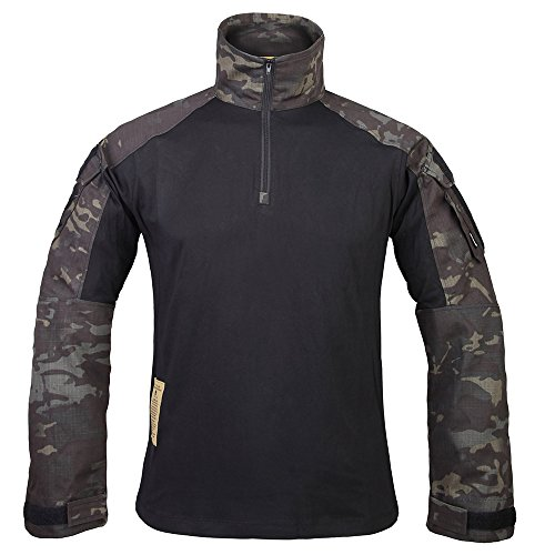 IDOGEAR G3 Combat Shirt Rapid Assault Long Sleeve Tactical Airsoft Clothing Military Paintball Gear Multicam Camouflage (M, MCBK)