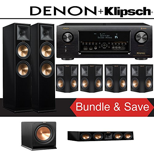 Klipsch RP-280F 7.1-Ch Reference Premiere Home Theater System (Piano Black) with Denon AVR-X4400H 9.2-Channel 4K Network AV Receiver