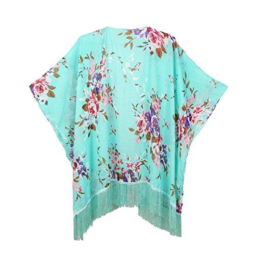 (Women's Floral Kimono Cover Up - Lightweight Leopard Chiffon Beachwear for Bikini,Cardigan and Swimwear (One Size, Mint Green))