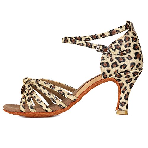 Roymall Women's Leopard,Satin Latin Dance Shoes,Model 217-7,9 B(M) US