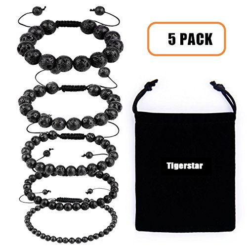Bead Beaded Bangle Bracelet - Tigerstar Natural Lava Rock Beads Bracelet 5PCS Set, Adjustable Braided Rope Gemstone Bracelet Essential Oil Diffuser Bracelet Stretch Yoga Beaded Bangle Healing Energy Cuff for Men,Women and Kids