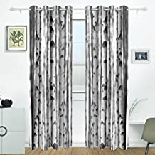 JSTEL Birch Tree Curtains Drapes Panels Darkening Blackout Grommet Room Divider for Patio Window Sliding Glass Door 55x84 Inches,Set of 2