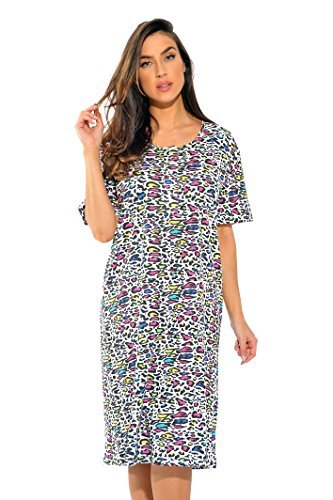 4360-P-10066-2X Just Love Short Sleeve Nightgown / Sleep Dress for Women / Sleepwear,Colorful Cheetah,2X - Cheetah Colorful