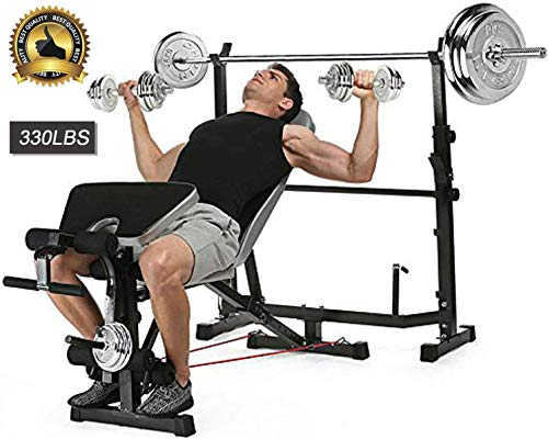 Aceshin Adjustable Olympic Weight Bench Power Tower Workout Dip Station with Preacher Curl Leg Developer Multi-Functional Weight Bench Set for Indoor Gym Home Fitness Exercise 330lbs (Black)