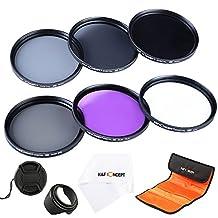 77MM Filter Kit, K&F Concept Lens Filter Accessory Kit (UV CPL FLD)+ (ND2 ND4 ND8) ND Neutral Density Circular Polarizing Set for Nikon D610 D700 D800 DSLR Cameras +Lens Hood+Lens Cap+Clean Cloth+Filter Bag