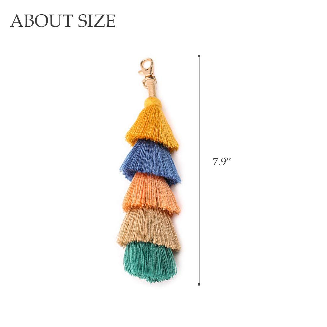 Handmade Pom Pom Tassel Keychain Charm Bag Pendant Colorful Car Circle Clip with Hook (Type2,2pcs)