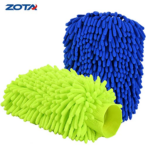 ZOTA Car Wash Mitt, 2-Pack Extra Large Size Microfiber Wash Mitt, Double Sided/High Density Chenille Scratch-Free Waterless Car Wash ()