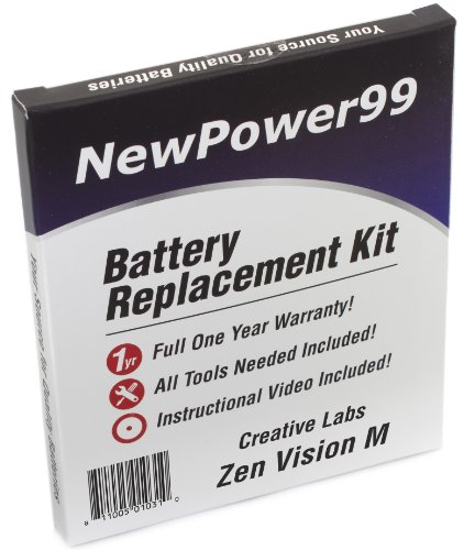 Battery Replacement Kit for Creative Labs Zen Vision M with Installation Video, Tools, and Extended Life - Battery Creative Labs