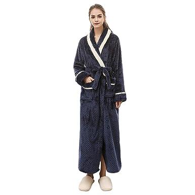 Lvguang Unisex Calientes Albornoz Invierno Batas Kimono Baño para Hombre y Mujer Suave Comodo Pijamas (
