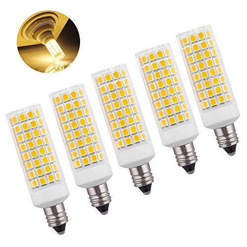 Kinglight 8W JD E11 LED Bulbs, 150W 100W Halogen Equivalent, Mini Candelabra LED Base, 1000LM Dimmable 3000K Warm White AC110V 120V, Pack of 5