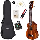 "Image of ENYA Koa Soprano Ukulele Bundle with Bag and Tuner, Strap, Spare Aquila Strings, Polishing Cloth, 2 Pins Installed, Instructional Book, KUS-70 (Soprano 21"")"