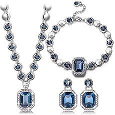 Qianse *Royal Style* Necklace Bracelet Earrings Fashion Jewelry Set Made with Navy SWAROVSKI Crystal