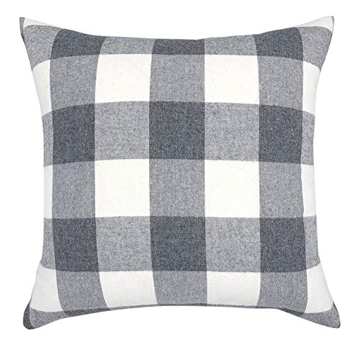 YOUR SMILE Retro Farmhouse Buffalo Tartan Checkers Plaid Cotton Linen Decorative Throw Pillow Case Cushion Cover Pillowcase for Sofa 24 x 24 Inch,Grey/White