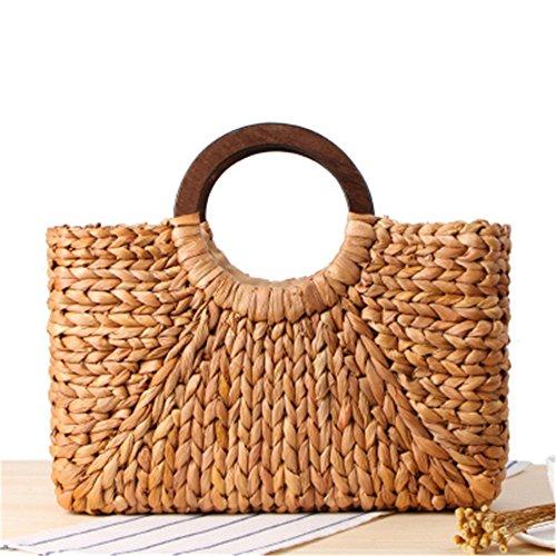 Meaeo Art Laptop Bag Woman Wooden Beach Bag Straw Bag Straw Props