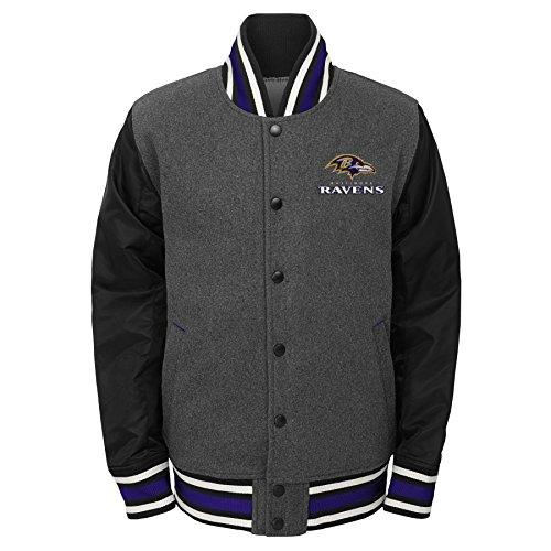 Outerstuff NFL Baltimore Ravens Youth Boys Letterman Varsity Jacket Charcoal Grey, Youth -