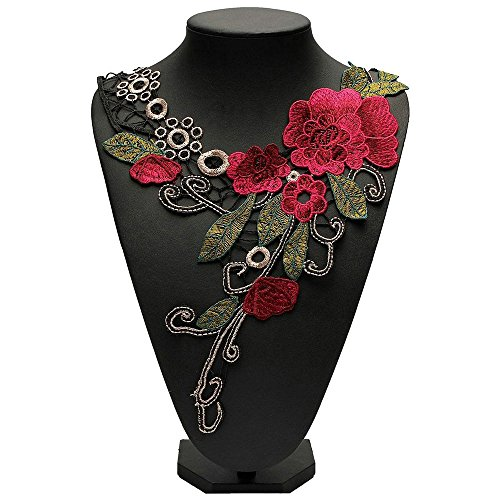 3D Flower Floral Guipure Collar Neckline Lace Trim Embroidered Neck Applique Sewing Craft Classic Embroidery Collar Fake Collar