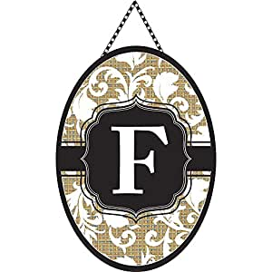 Monogram Letter F Shield with White Filigree on Burlap 18 x 13 Oval Chain Rope Door Banner