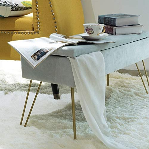 Square Velvet Bench Storage Stool Modern Ottoman