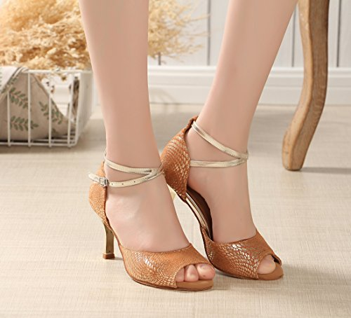 Samba Peep Heel Flared Shoes Print Wedding Joymod Latin Tango Rumba Toe Ballroom Leather Women's MGM Heel Ankle Salsa Party 7 Formal Dance 5cm Modern Brown Wrap Sandals Fq7wCEUn