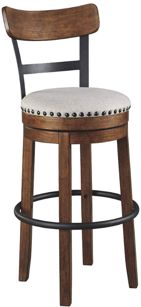 Ashley Furniture Signature Design - Valebeck Tall Upholstered Swivel Barstool - Casual Style - Light Brown